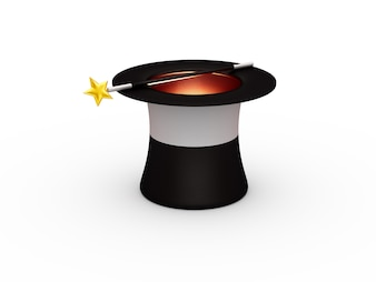 Magic hat and magic wand isolated
