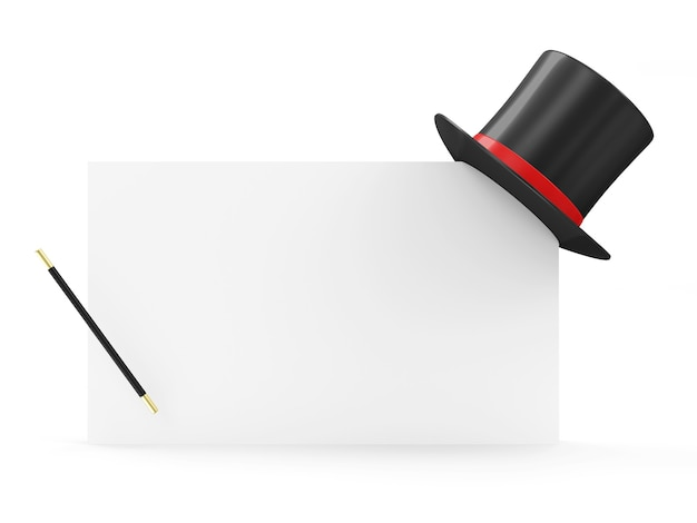 Magic hat and magician wand on blank board isolated on white background