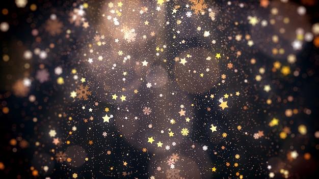 별이 떨어지는 눈송이와 크리스마스를 위한 빛나는 조명이 있는 마법의 휴일 반짝이 배경