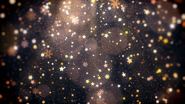 Magic holiday glitter background with stars falling snowflakes and shiny lights for christmas