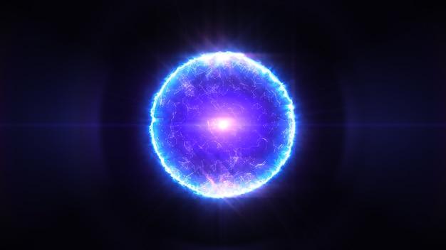 青と紫の色の3 dイラストレーションで魔法のプラズマボール
