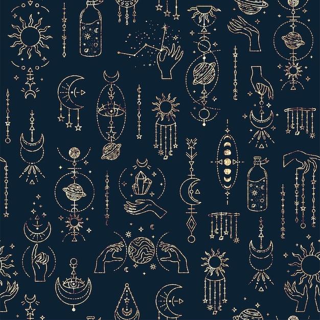 Волшебный бесшовный образец с загадочными символами. волшебный фон