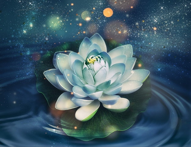 어두운 물 배경에 마법의 빛나는 백합 꽃