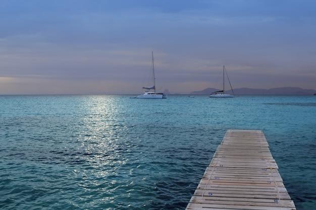 Magic silver turquoise formentera sea sunset