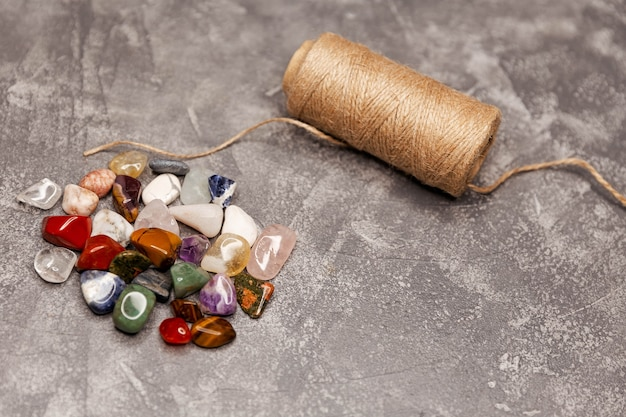 Magic stones mysterious divination composition of esoteric objects