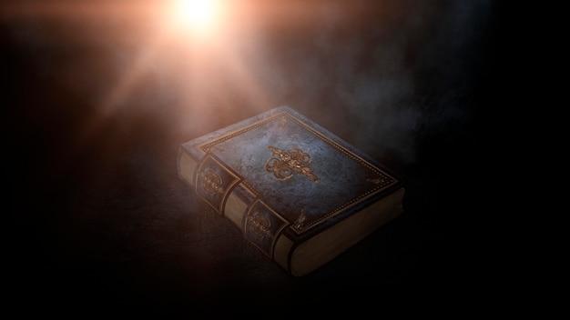 Magic vintage fantasy book on a dark background, landscape, smoke, fog, neon moonlight in the dark. 3d illustration.