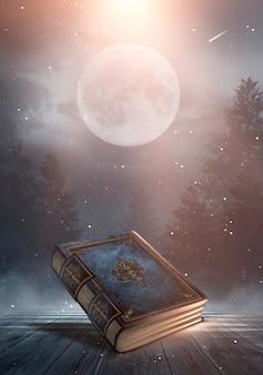 暗い背景、風景、煙、霧、暗闇の中でネオンの月明かりに魔法のヴィンテージファンタジー本。 3dイラスト。