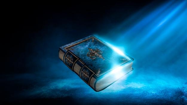 어두운 배경, 풍경, 연기, 안개, 어둠 속에서 네온 달빛에 대한 마법의 빈티지 판타지 책. 3d 그림입니다.