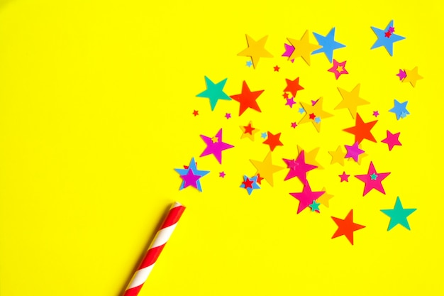 Magic wand on yellow background