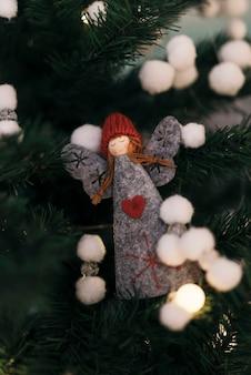 Magical angel ornament of christmas tree