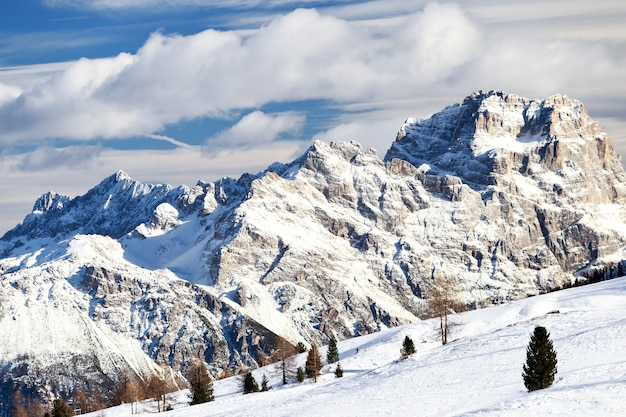 Magical dolomites mountains with snow