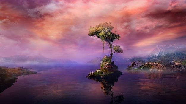 Волшебный пейзаж с деревом на острове горного озера d визуализации