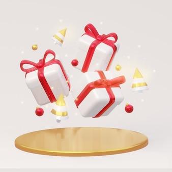Волшебные новогодние и рождественские подарки с елочными игрушками 3d-рендеринга