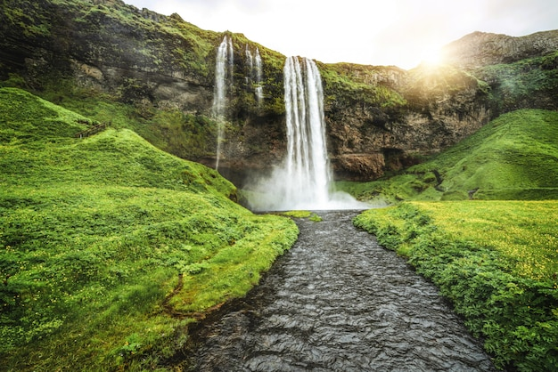 Magical seljalandsfoss waterfall in iceland