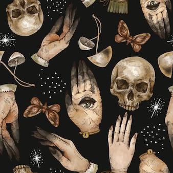 Волшебный череп бесшовные модели с руками ведьмы, моль и гриб. текстура колдовства.