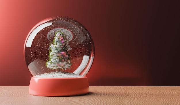 木製のテーブルにクリスマスツリーと魔法のスノードーム