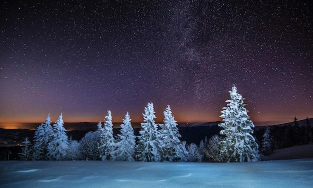冬の雲ひとつない寒さの中、夜のスキーリゾートに広がる星空の不思議な景色。田舎の休暇の忘れられない印象の概念。コピースペース