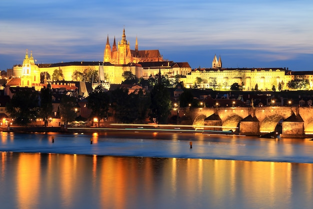 Magical view of the old town in prague in the evening