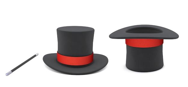 Шляпа фокусника. черная цилиндрическая шляпа с красной лентой и волшебной палочкой. изолированные на белом фоне. 3d визуализация.