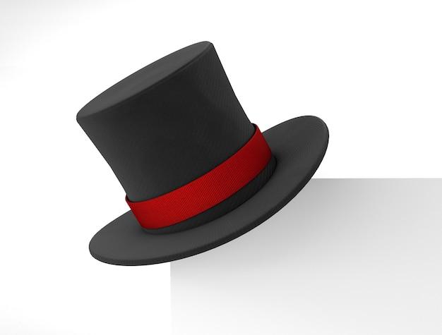Шляпа фокусника. черная цилиндрическая шляпа с красной лентой на углу каркасного листа. изолированные на белом фоне. 3d визуализация.