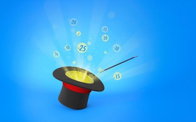 Шляпа фокусника. скидки, распродажа. лучи света из черного цилиндра с красной лентой и волшебной палочки. синий фон. 3d визуализация.