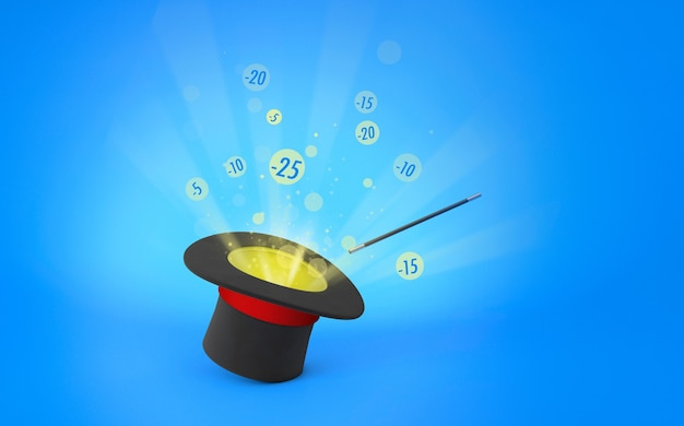 Magician hat. discounts, sale. light rays from a black top hat with a red ribbon and a magic wand. blue background. 3d render.