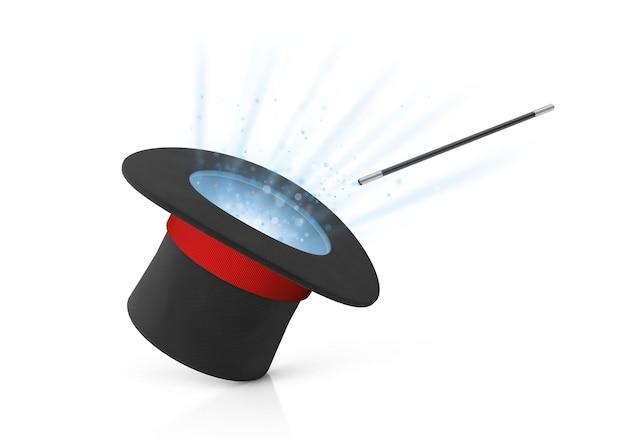 Шляпа фокусника. лучи света из черного цилиндра с красной лентой и волшебной палочки. изолированные на белом фоне. 3d визуализация.