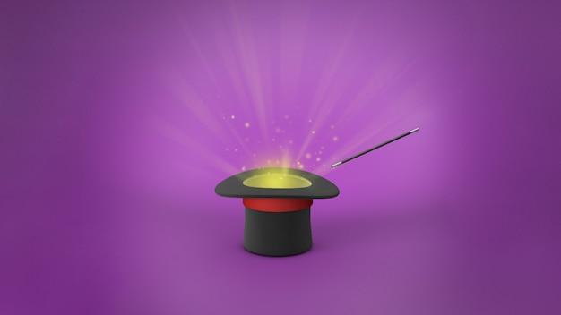 Шляпа фокусника. лучи света из черного цилиндра с красной лентой и волшебной палочки. фиолетовый фон. 3d визуализация.
