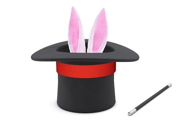 マジシャンハット。ウサギの耳は、赤いリボンと魔法の杖が付いた黒いシルクハットで突き出ています。白い背景で隔離。 3dレンダリング。