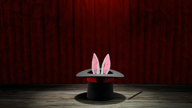 Magician hat. rabbit ears stick out with a black top hat with a red ribbon and a magic wand. red curtain with wooden floor. 3d render.