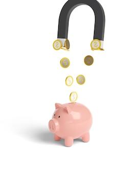 白で隔離された貯金箱からコインを引き付ける磁石。