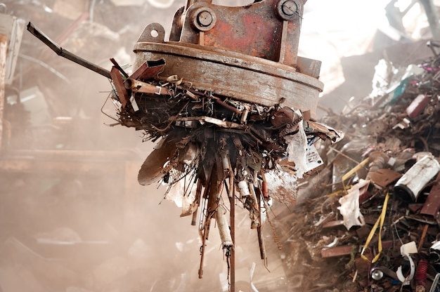 Magnet cranes are used in the recycling industry to remove iron scraps