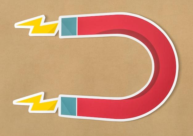 Icona magnetica a ferro di cavallo del magnete isolata