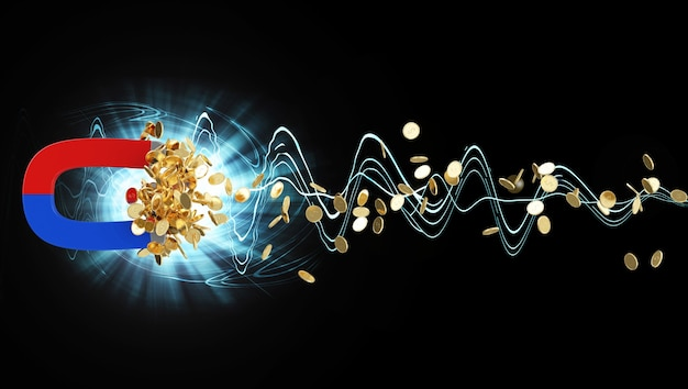 Magnet with golden coins on black abstract background