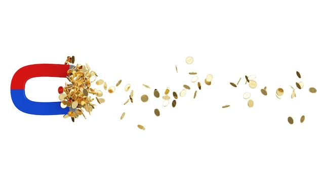 Magnet with golden coins isolated on white background