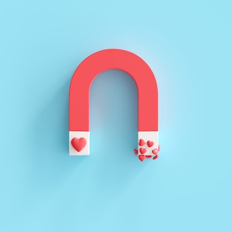 Magnet with heart shape, minimal valentine idea concept. 3d render