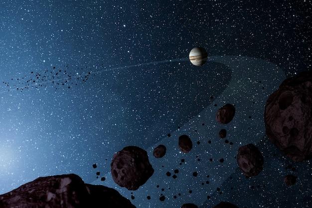 Nasaのイラストによって提供されたこの画像の石と小惑星の要素の磁気ベルト