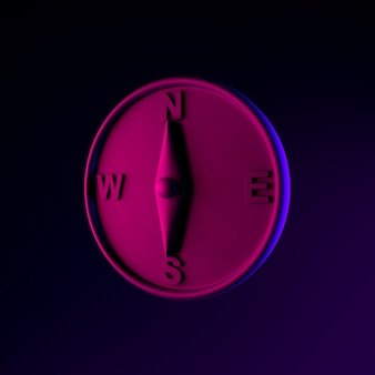 磁気コンパスネオンアイコン。 3dレンダリングuiuxインターフェイス要素。暗く光るシンボル。