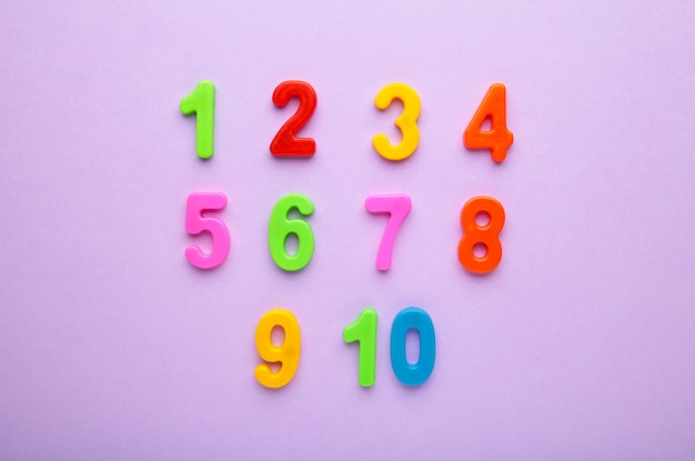 Magnetic multi-coloured numbers on purple background with copy space. back to school.