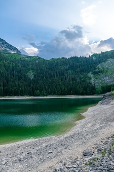 The magnificent black lake is located in the national park durmitor in the north of montenegro.