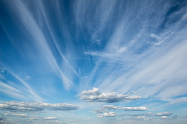 The magnificent blue sky with beautiful cirrus clouds