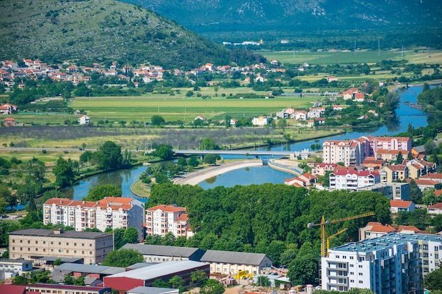 Magnificent view of trebinje from the height of the ancient temple of hercegovachka-gracanica