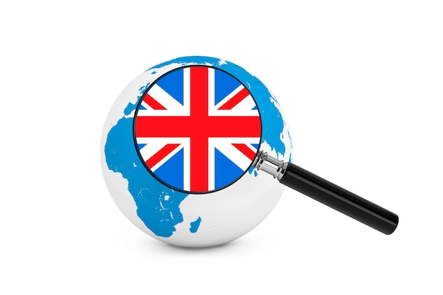 흰색 바탕에 지구 글로브와 함께 영국의 국기를 확대