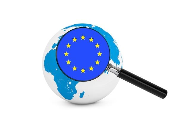 白い背景の上の地球儀とヨーロッパの拡大旗 Premium写真