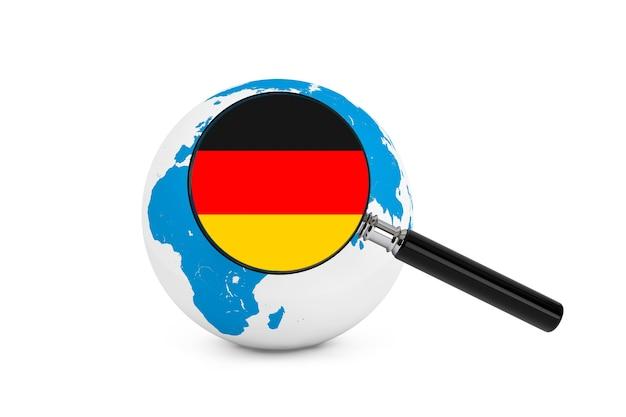 흰색 바탕에 지구 글로브와 함께 독일의 국기를 확대
