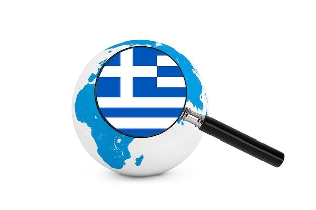 흰색 바탕에 지구 글로브와 함께 그리스의 국기를 확대