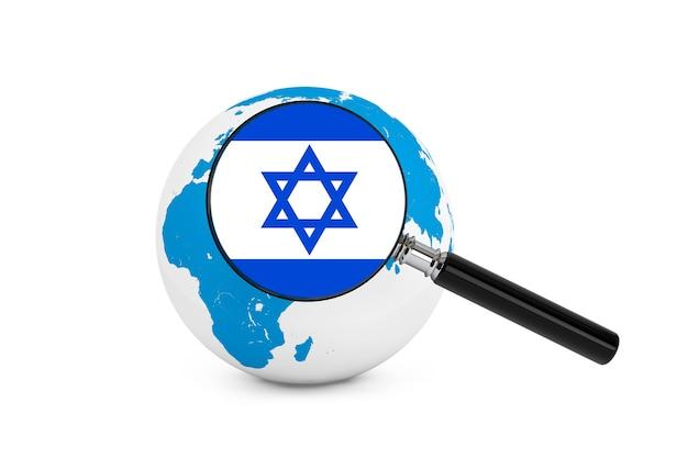 흰색 배경에 지구 글로브와 함께 이스라엘의 국기를 확대