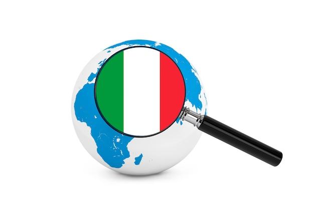 흰색 배경에 지구 글로브와 함께 이탈리아의 국기를 확대