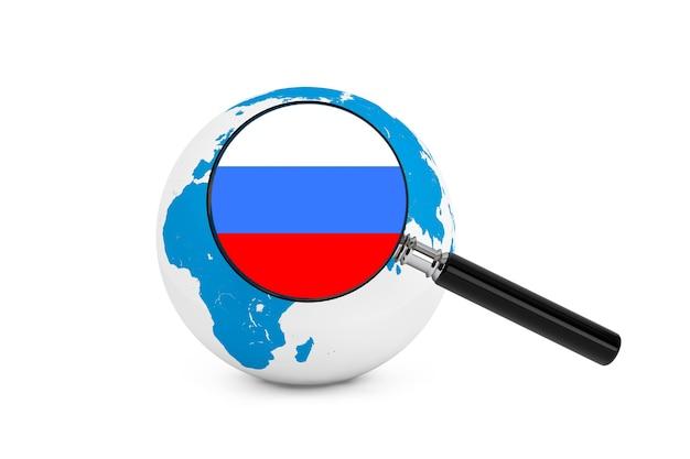 白い背景の上の地球儀とロシアの拡大旗 Premium写真