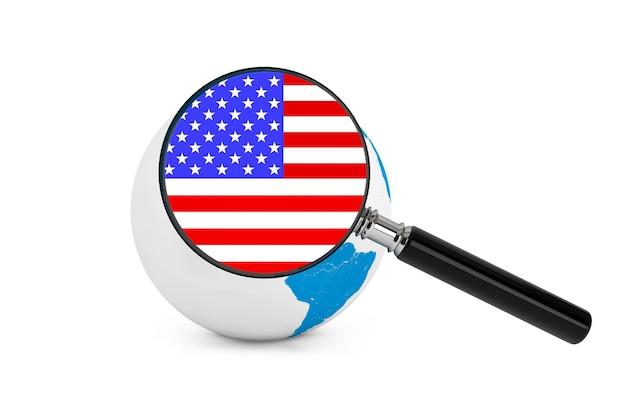 흰색 배경에 지구 글로브와 함께 미국의 국기를 확대